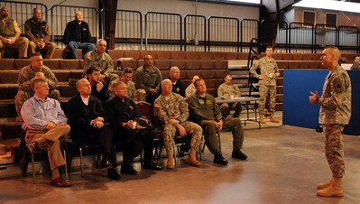 In this image released by the Texas Military Forces, Operation Sooner Response Director Brig. Gen. Walter Fountain addresses the VIP delegation at Camp Gruber, Oklahoma, November 15, 2011, prior to taking the group on a tour of the installation's training facilities. The operation featured six states engaging simulated disaster incidents throughout five sites in Oklahoma. Texas Soldiers supported the mission by contributing the 6th Civil Support Team and personnel assets from the FEMA Region VI Homeland Response Force.