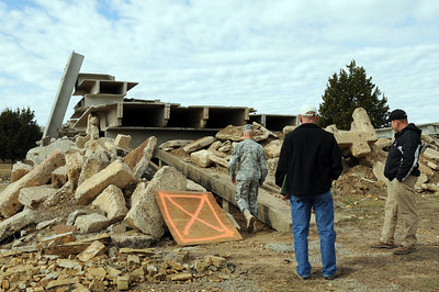 In this image released by the Texas Military Forces, Brig. Gen. Walter Fountain visits a simulated disaster site for Operation Sooner Response at Camp Gruber, Oklahoma, November 15, 2011. The exercise featured six states engaging simulated disaster incidents throughout five sites in Oklahoma. Texas Soldiers supported the mission by contributing the 6th Civil Support Team and personnel assets from the FEMA Region VI Homeland Response Force.