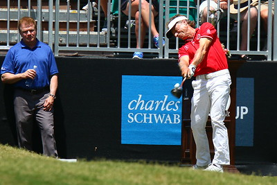 Tournament winner, Bernhard Langer, tees off on hole #1
