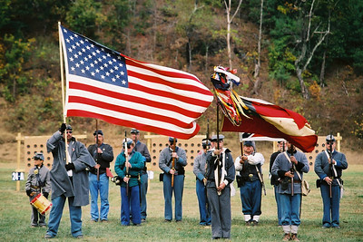 13th Confederate Infantry, honoring both flags, post-9/11.  Photo submitted  by Joe Fisher.