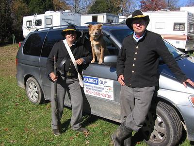 Dave Keegan, Kona the Dog, and Wayne Jordan in camp, Photo submitted by Wayne Jordan.