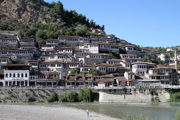 The old town of Berat, a UNESCO World Heritage site, with the River Osumi in the foreground, Albania