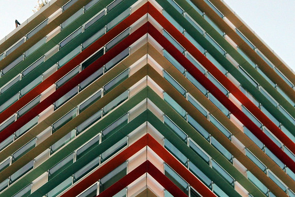 Colourful shades wrap around a building on Asim Zeneli street in central Tirana