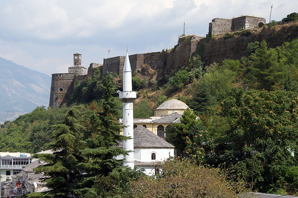 The mosque at Gjirokastra, Albania with the castle in the background