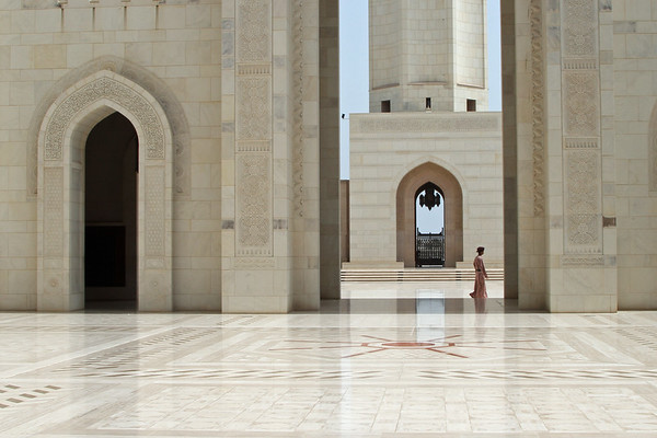 In the grounds of Sultan Qaboos Grand Mosque in Muscat, Oman