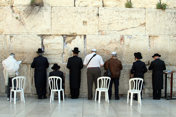 Jewish worshippers pray at the Western Wall, Jerusalem