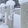 Snow-shrouded British WWII graves