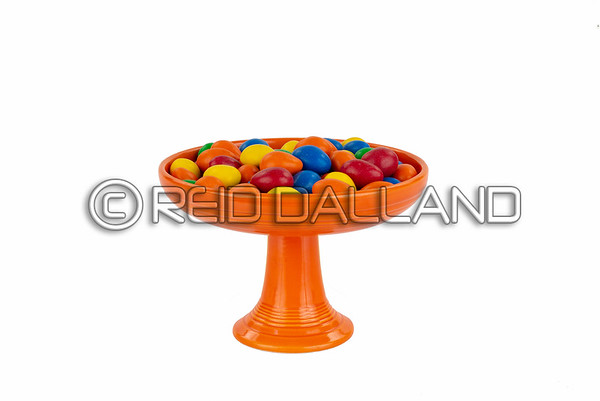 Colorful Vintage Pedestal Candy Dish with Candy