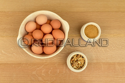 Farm Fresh Organic Free Range Eggs, Walnuts, Organic Sugar, Cinnamon, in Blue and White Bowls. Farm to Table