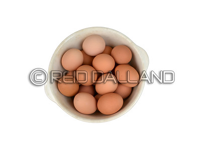 Farm Fresh Organic Free Range Eggs in Bowl. Overhead View. Farm to Table