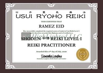 Reiki I Certificate -Ramez Eid