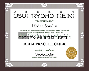 Certificate for Madan Sondur for _Reiki Level I - Reiki Pract   _