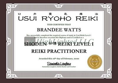 Reiki I Certificate - Brandee Watts