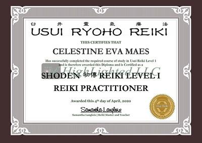 Reiki I Certificate - Celestine Eva Maes