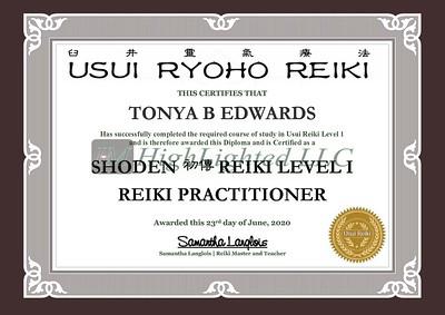 Reiki I Certificate - Tonya B Edwards