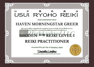 Reiki I Certificate - Haven MorningStar Greer
