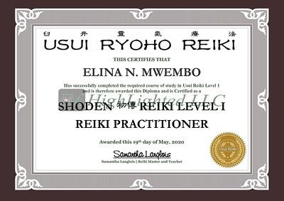 Reiki I Certificate - Elina N  Mwembo
