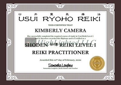 Reiki I Certificate - Kimberly Camera
