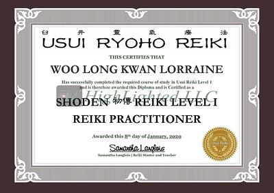 Reiki I Certificate - Woo Long Kwan Lorraine