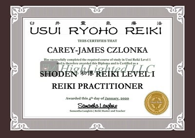 Reiki I Certificate - Carey-James Czlonka