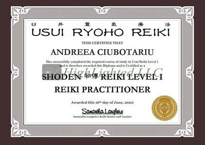 Reiki I Certificate - Andreea Ciubotariu