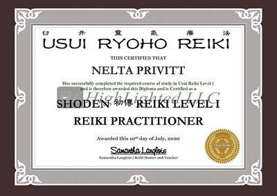 Reiki I Certificate -Nelta Privitt