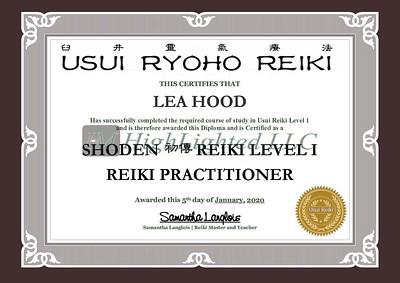 Reiki I Certificate - Lea Hood
