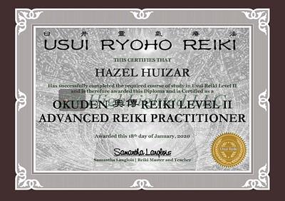 Reiki II Certificate - HAZEL HUIZAR