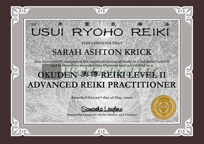 Reiki II Certificate Sarah Ashton Krick