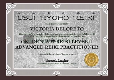 Reiki II Certificate - VICTORIA DELORETO
