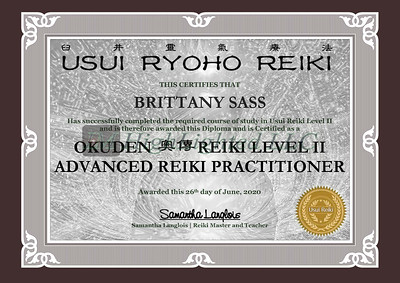 Reiki II Certificate BRITTANY SASS