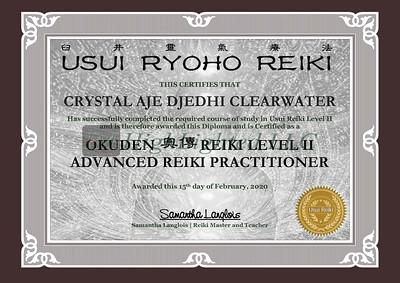 Reiki II Certificate - CRYSTAL AJE DJEDHI CLEARWATER you