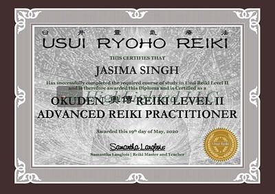 Reiki II Certificate JASIMA SINGH