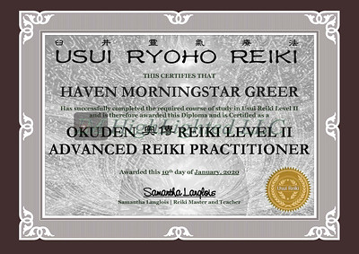Reiki II Certificate - Haven MorningStar Greer