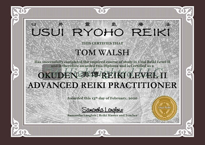 Reiki II Certificate - Tom Walsh-1