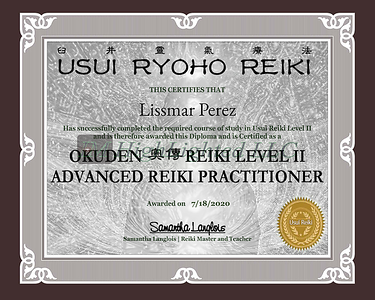 Certificate for Lissmar Perez for _Reiki II - Certificate Name   _