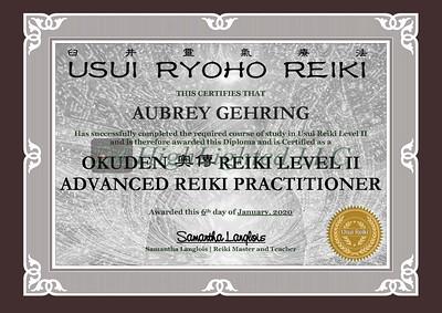 Reiki II Certificate - Aubrey Gehring