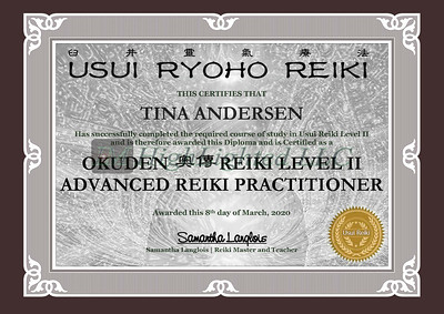 Reiki II Certificate - Tina Andersen