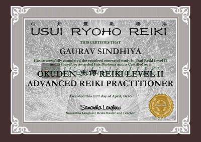 Reiki II Certificate -GAURAV SINDHIYA