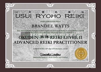 Reiki II Certificate - Brandee Watts
