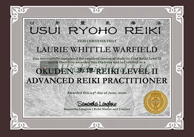 Reiki II Certificate Laurie Whittle Warfield