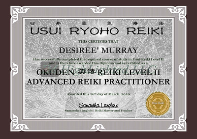 Reiki II Certificate - Desiree' Murray-1
