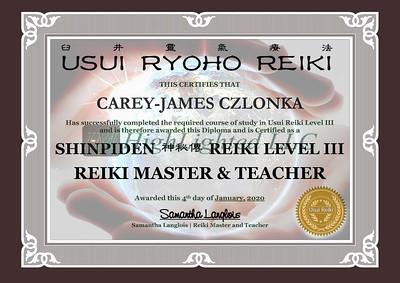 Reiki III Certificate - CAREY-JAMES CZLONKA