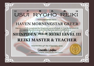 Reiki III Certificate - Haven MorningStar Greer