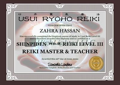 Reiki III Certificate ZAHRA HASSAN