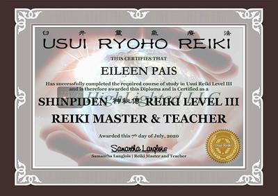 Reiki III Certificate Eileen Pais
