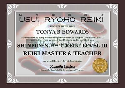 Reiki III Certificate Tonya B Edwards