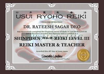 Reiki III Certificate DR  RATEESH SAGAR DEO