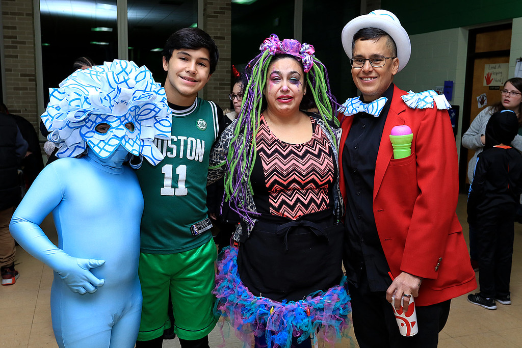 . Reingold Elementary held a Halloween dance on Friday night, October 26, 2018. This family, from left, enjoying themselves at the dance is Reece Tessier, Dante Tessier with their parents Stephanie Harris and Reyes Arce. SENTINEL & ENTERPRISE/JOHN LOVE