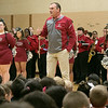 Reingold Elementary School held a Red and Gray rally at the school on Tuesday, Nov. 26, 2019 to get fired up for the up coming 125th Thanksgiving Day football game against Fitchurg and Leominster. Visiting the school to help with the rally where members of the High School football team, cheerleaders and the band. During the rally football coach Tom DiGeronimo get the students all fired up for the Thanksgiving Day game. SENTINEL & ENTERPRISE/JOHN LOVE